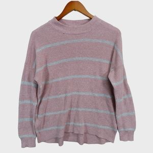 American Eagle Pink and Gray Knit Sweater-Small